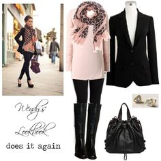 The pink and black are a class act. That scarf is to die for but just a little up there in price. Gorgeous outfit.