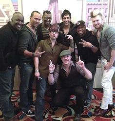LVH headliners and all-vocal sensation Mo5aic was visited by 10-time GRAMMY Award winning group Take 6 (three of the six members) at their performance last night, February 27, 2014 (Photo credit: Courtesy).
