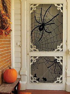It doesn't get easier than this: Simply hang this black lace panel inside your screen door to give trick-or-treaters a friendly fright.