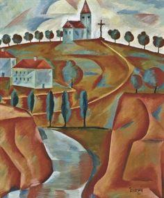 Jindřich Štyrský (Czech, - Kostel na kopci / Church on the Hill, oil on canvas St Sebastian, Modern Times, Surreal Art, Cool Artwork, Oil On Canvas, Art Photography, Artsy, Paintings, Design
