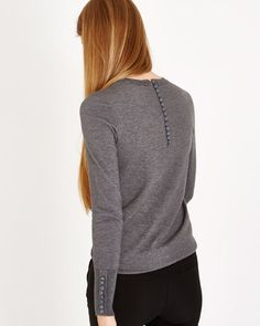 grey Savida Button-Back Jumper