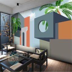 Abstract Cartoon Fantasy Architecture Wallpaper - 64W x 40H inches / Non-woven Paper
