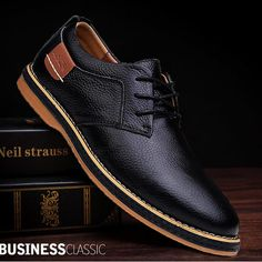 Men Dress Shoes Genuine Leather Man Oxford Shoes Lace Up Men Casual Moccasins Comfortable Fashion Office Footwear Loafers Male Men's Shoes
