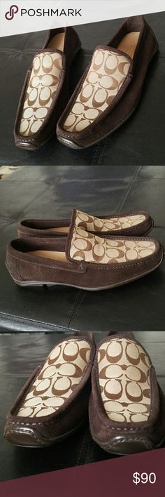 Coach Signature Print Suede Loafers Brown Coach loafers with suede and featuring the Coach signature print along the footing. Excellent, like new condition. Size 9. Made in Italy. (Bin 15) Coach Shoes Loafers & Slip-Ons
