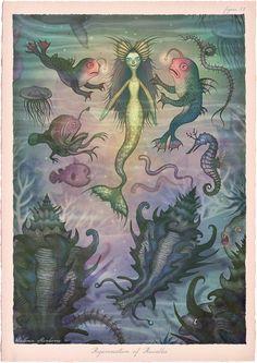 Tales of the Sea: Illustrator creates series of fantastical marine-based characters   Creative Boom. Vladimir Stankovic. Tarot, Sea Illustration, Rusalka, Mermaid Tale, Creepy Art, Lowbrow Art, Monster Art, Sea Monsters, Autumn Art