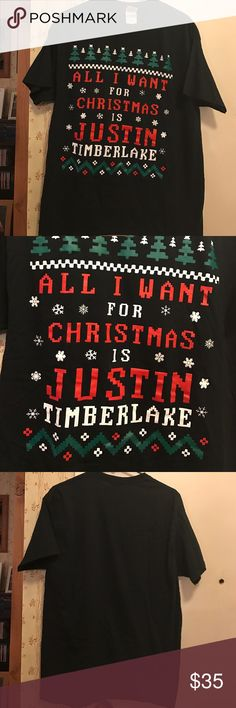 "Justin Timberlake Christmas T-shirt Best. Shirt. Ever!!! 'All I want for Christmas is Justin Timberlake"" t-shirt! Great condition, size L. No trades. Make offers! Gildan Tops Tees - Short Sleeve"