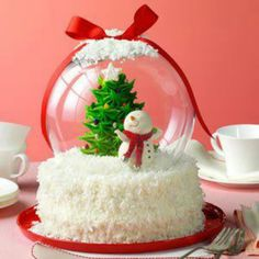 Just decorate the cake with anything you'd want in a snow globe or anything at all, ans cover it with a glass bowl! I've seen round glass bowls at the dollar store, such a cute idea!