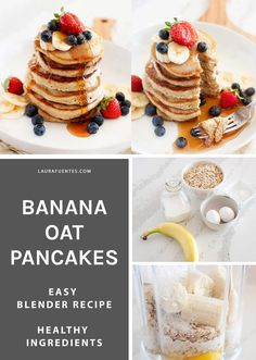 Banana Oatmeal Pancakes made in the blender and cooked to fluffy perfection! These are a wholesome and delicious version of our favorite breakfast food, made gluten, and dairy-free. #breakfast #pancakes Oatmeal Pancakes Easy, Breakfast Pancakes, Pancakes And Waffles, Free Breakfast, Breakfast Ideas, Gluten Free Sweets, Gluten Free Baking, Healthy Blender Recipes, Pancake Calories