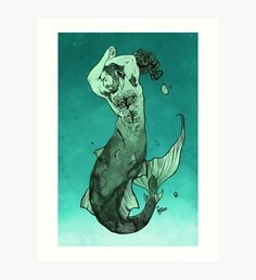 Merman Art Print