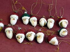Your marketplace to buy and sell handmade items.ACORN Santa Faces Hand Painted Christmas Tree by alluniqueCrochet pattern Owl Treasure Organizer by ViTalinaCraft on… - Diy BabyCrochet pattern Owl Treasure Organizer by ViTalinaCraft on . Christmas Tree Painting, Painted Christmas Ornaments, Little Christmas Trees, Christmas Art, Christmas Projects, Christmas Decorations, Santa Ornaments, Acorn Crafts, Pine Cone Crafts