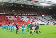 Manchester United walk out to a cauldron of noise and colour before the 2008 Champions League semi-final against Barcelona.