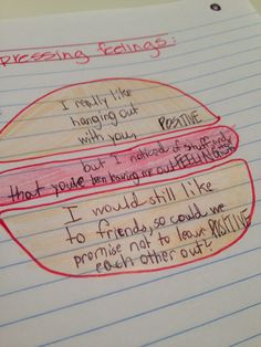 """The """"sandwich"""" technique for expressing feelings (this student said she prefers hamburgers!)"""