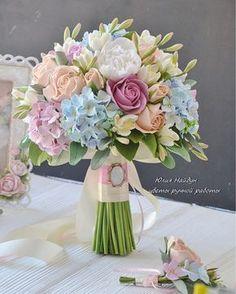 Купить Букет невесты 27 см с цветами из полимерной глины - розы ручной работы, гортензия