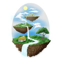 3 tiered landscape illustration designed by Jonathan Wynne. Tiered Landscape, Corel Painter, Landscape Illustration, Snow Globes, Art Drawings, Character Design, Digital Art, Illustrations, Illustration