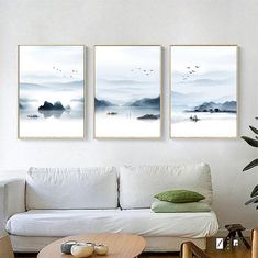 Set of 3 Landscape Abstract Nordic Ink Style Fishing Boat Birds Print Digital 300 dpi Download Prints Pictures Illustration