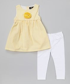Loving this Yellow Gingham Tunic & White Leggings - Infant, Toddler & Girls on #zulily! #zulilyfinds