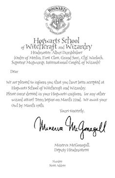 PRINTABLE Hogwarts Acceptance Letter- Personalized Digital ...