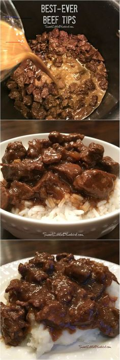 Best-Ever Beef Tips - Sweet Little Bluebird - #beefdishes - Today's tried and true is a recipe that's been a family favorite for over a decade – Best-Ever Beef Tips! BEST-EVER BEEF TIPS Tender beef cooked in a deliciously rich gravy, served over rice, mashed potatoes or egg noodles – a satisfying, filling meal the whole family will love. Simple to make comfort food that's easy...Read More... Diet Recipes, Cake Recipes, Recipes Dinner, Bread Recipes, Gyoza, Creamy Cucumbers, Beef Tips, Comfort Food, Slow Cooker Beef