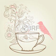 Taza de t taza de caf platillos establezca dibujo for Platillos franceses faciles