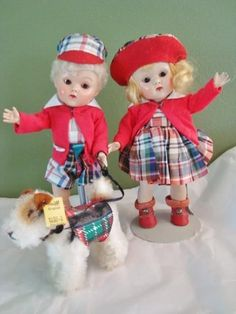 1952 Vogue Ginny Dolls Steve & Eve Brother Sister Twins Caracul Wig N/Mint