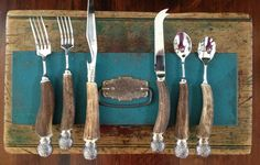 Fabulous Set of VINTAGE Naturally Shed STAG HORN Flatware with STERLING SILVER Handles. PERFECT Serving Pieces at your next Big AFFAIR. Dinner Party JUNK.