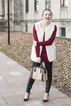 Faux Fur Vest, Sweater Tunic, Leather Leggings