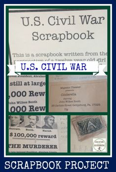 Historic scrapbooks are a great way to synthesize information on a period of time or person.  This project was a U.S. civil war scrapbook in which the student developed an extensive history of the girl who created the scrapbook and incorporated events from the Civil War and the effect on the girl.