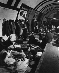 Air raid shelter in a London Underground station during the Blitz. (US National Archives)