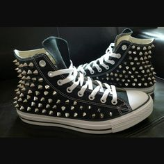 Studded Converse, size Authentic Authentic Converse with all-over studs. Worn twice, clean and in excellent condition. Studded Converse, Converse Shoes, Studs, Sneakers, Searching, Fashion, Tennis, Moda, Slippers