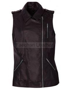 Astonishing Women Brown Biker Leather Vest