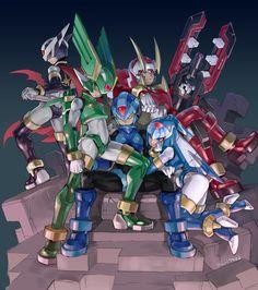 Mega Man Zero - Hidden Phantom, Sage Harpuia, Copy X, Fighting Fefnir, and Fairy Leviathan by indesign