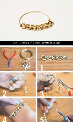 DIY Wire Bracelet  : DIY | WIRE CHAIN BRACELET DIY Jewelry DIY Bracelet Easy peasy and lots of ways to change up this basic look.