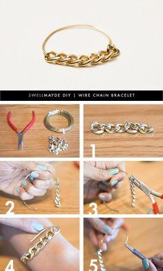 DIY Wire Bracelet  : DIY | WIRE CHAIN BRACELET DIY Jewelry DIY Bracelet Easy peasy and lots of ways to change up this basic look.