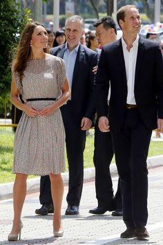 For a cultural event in Queenstown, Singapore, the Duchess wore a Raoul silk dress and LK Bennett heels.