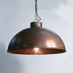 Hängelampe Cozy Kupfer. Großer Lampenschirm für große Industrial Design Fans. Industrial Vintage