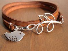 wrap leather bracelet,bird bracelet, leaf bracelet, nature, camel flat leather bracelet, womens leather Bracelet ,