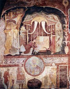 S.Clemente basilica inferiore, nartece, miracolo di S.Cle (XI sec) del pittore di Beno. reg.inferiore: clipeo con S.Cle. e ai lati Beno de Rapiza, la moglie Maria Macellaira e figli (donatori)