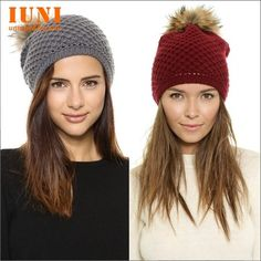 winter 2014 warm rabbit fur fashion leather plush ball network establishment luo wenbian knitted gilrs elastic Beanie cap-