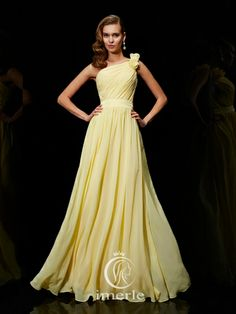 763c00de7e stunning one-shoulder long yellow pleated brodesmaid dress Cheap Bridesmaid  Dresses Online