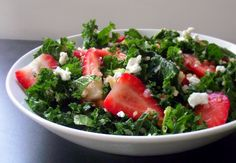 Strawberry KALE SALAD  Ingredients For the salad 2 c fresh kale, torn into 2″ strips 1/2 c cooked quinoa 1 c sliced strawberries 1/2 c chopped almonds (optional) 1/4 c crumbled goat cheese (optional) For the minneola vinaigrette 1/2 c freshly squeezed minneola juice 1 t lemon juice 1/4 c canola oil (or grapeseed or other lightly flavored oil) 1 T apple cider vinegar 1 t honey Generous pinch of salt & pepper