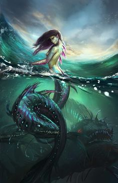 ArtStation - Little fish big fish swimming in the water, Alexander Nanitchkov Dark Fantasy Art, Fantasy Kunst, Fantasy Artwork, Mythological Creatures, Mythical Creatures, Sea Creatures, Mermaid Artwork, Mermaid Drawings, Mermaid Paintings