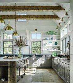 Beams warm white kitchen