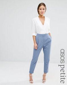 ASOS Petite - Pantalon ajusté à taille haute avec revers