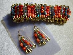 Safety Pin Bracelet and Earrings Set by dreamscapegallery on Etsy, $32.99