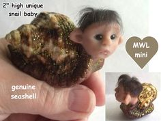 sculpt 301 MWL mini baby snail troll pixie imp elf seashell art doll OGLD CDHM