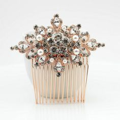 Rose Gold Bridal Hair Comb Silver Bridal Hair by poetryjewelry
