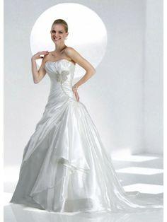 Organza Softly Curved Neckline Delicately Gathered Bodice A-line Wedding Dress