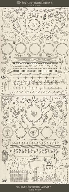 Hand Drawn Vector Design Elements! Flourishes, curls, corners, borders, wreaths, leaves, flowers, mushrooms, birds, bugs, hearts, stars, feathers, arrows, and so much more.