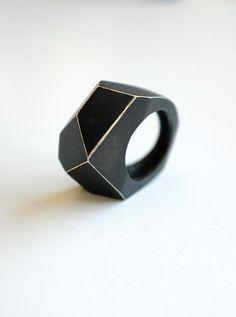 polygon * oxidized silver ring by ioulia kirikou