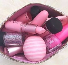 eos, mac, makeup, nail polish, pink, pretty, tumblr